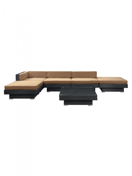 Light Brown Palm Springs 6 Piece Outdoor Sofa Set 461x614