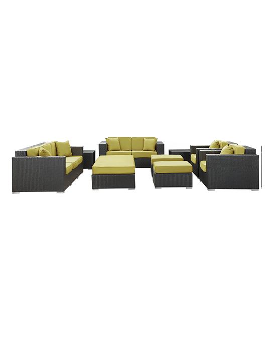 Lime Green Beverly Hills 9 Piece Outdoor Sofa Set