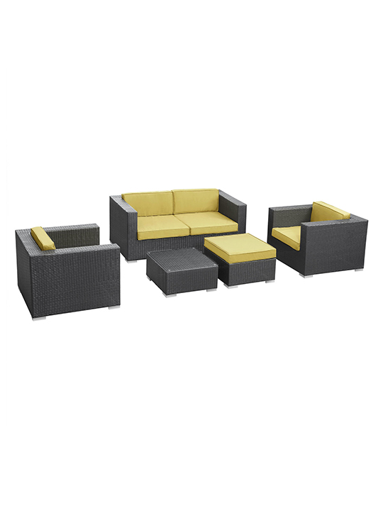 Lime Green Cushion Cayman Espresso 5 Piece Outdoor Set 15