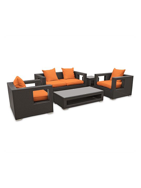 Orange Bali Outdoor 5 Piece Sofa Set