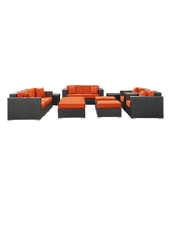 Orange Beverly Hills 9 Piece Outdoor Sofa Set