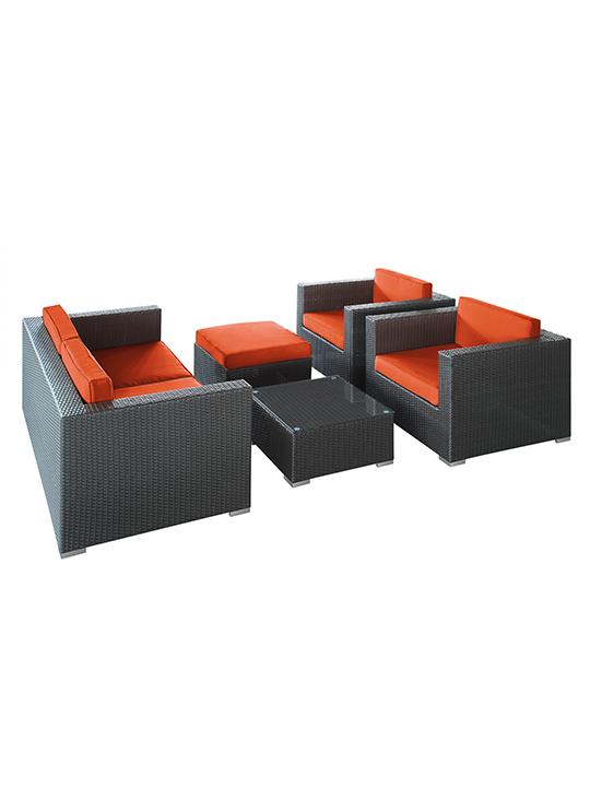 Orange Cushion Cayman Espresso 5 Piece Outdoor Set 2