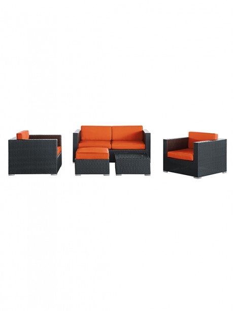 Orange Cushion Cayman Espresso 5 Piece Outdoor Set 461x614