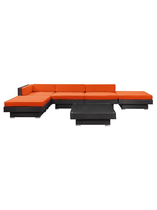 Orange Palm Springs 6 Piece Outdoor Sofa Set