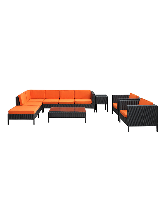 Orange South Hampton 9 Piece Outdoor Sofa Set