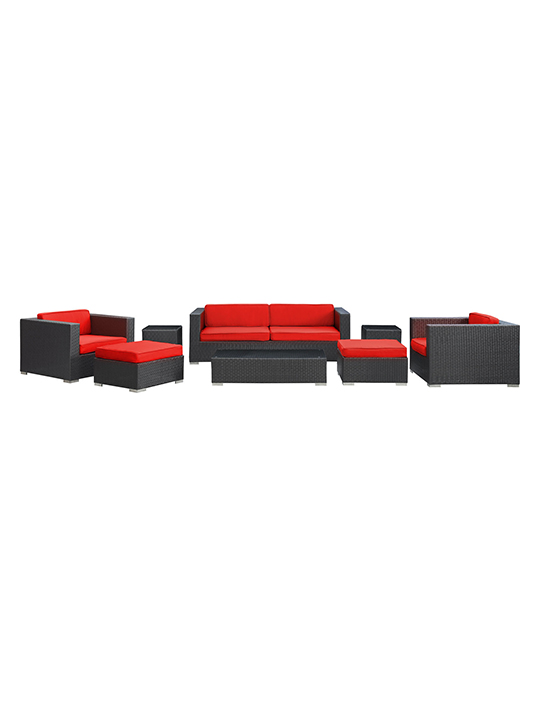 Red Barcelona 8 Piece Outdoor Sofa Set