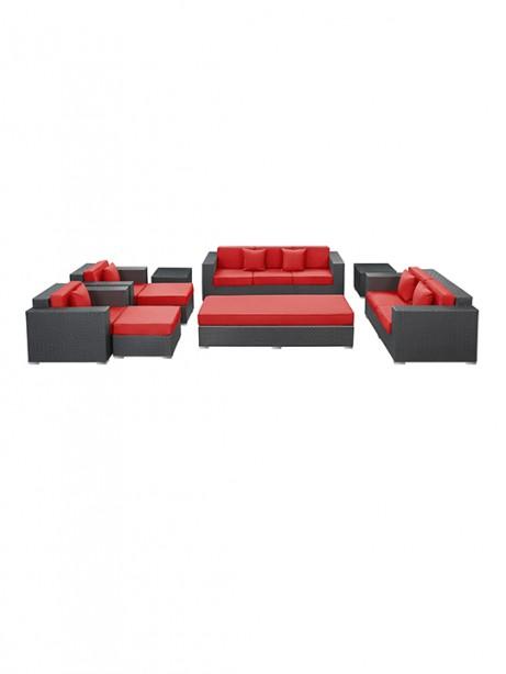 Red Beverly Hills 9 Piece Outdoor Sofa Set 461x614