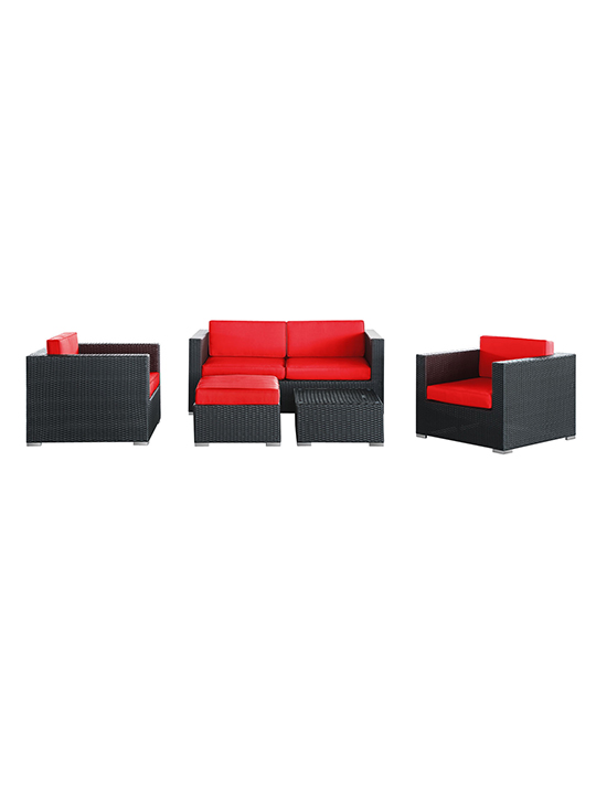 Red Cushion Cayman Espresso 5 Piece Outdoor Set3