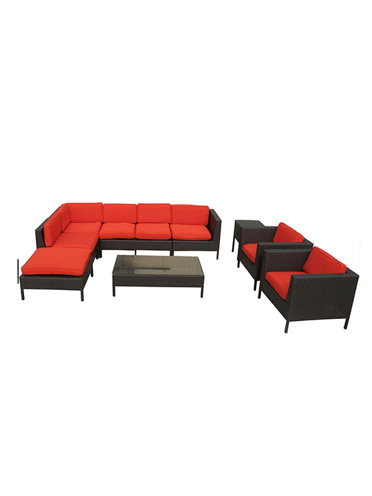 Red South Hampton 9 Piece Outdoor Sofa Set