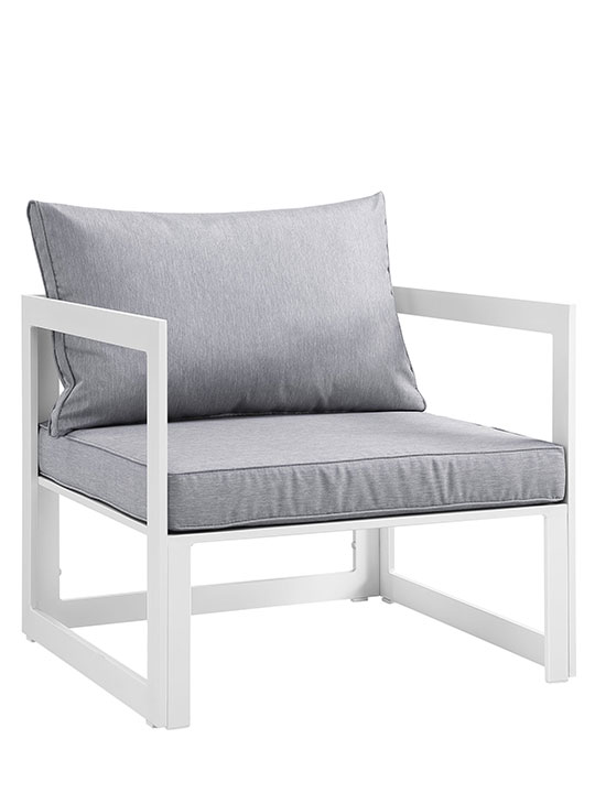 Star Island Outdoor Chair White Grey Cushion 1