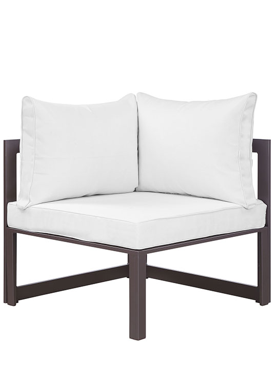 Star Island Outdoor Corner Chair Brown White Cushion 3