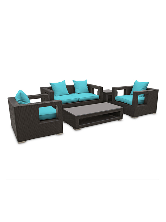 Turquoise Bali Outdoor 5 Piece Sofa Set