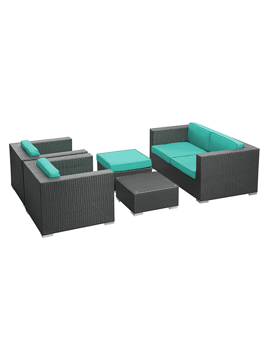 Turquoise Cushion Cayman Espresso 5 Piece Outdoor Set 2