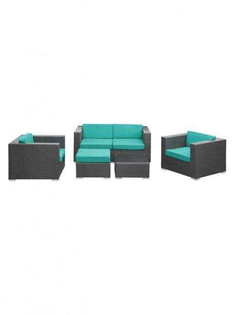 Turquoise Cushion Cayman Espresso 5 Piece Outdoor Set1 461x614