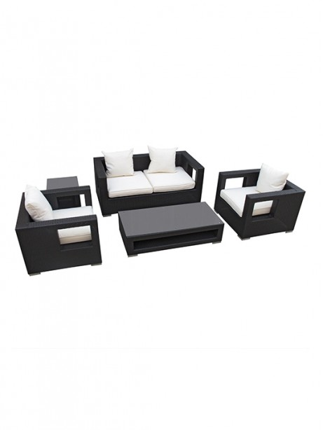 White Bali Outdoor 5 Piece Sofa Set 461x614