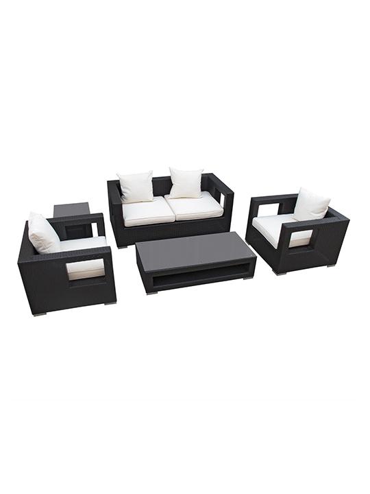 White Bali Outdoor 5 Piece Sofa Set