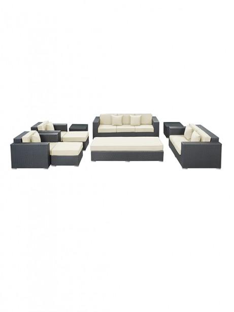White Beverly Hills 9 Piece Outdoor Sofa Set 461x614