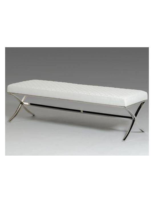 White Posh Leather Bench