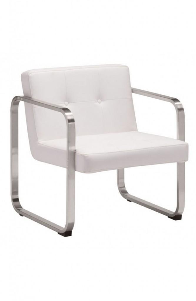 Merveilleux 21st Century Chair White Leather 2