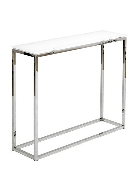 Chrome White Glass Console Table 2 461x600