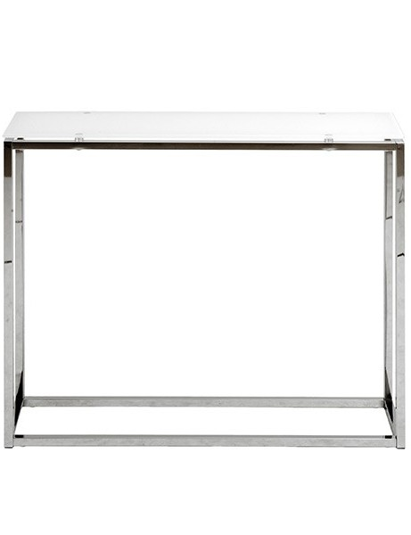 Chrome White Glass Console Table 461x600