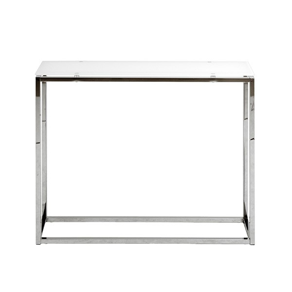Chrome White Glass Console Table