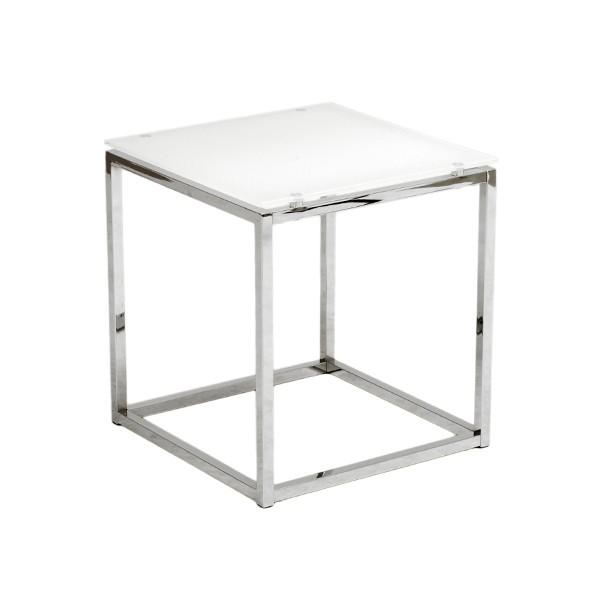 Chrome White Glass Side Table 2