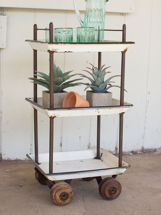 Distressed White Tray Rolling Cart