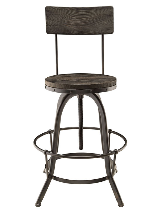 Industrial Wood Metal Barstool