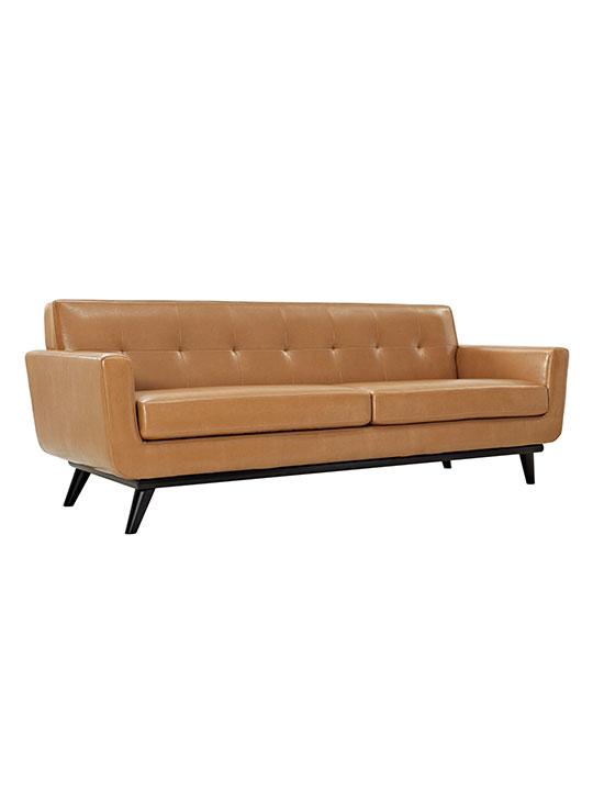 Tan Pop Art Leather Sofa