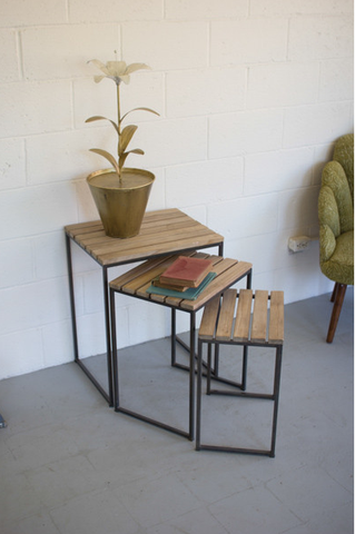 Wood Slat Nesting Table Set