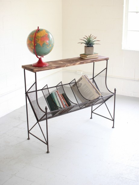 Wood Wire Book Console Table 461x614