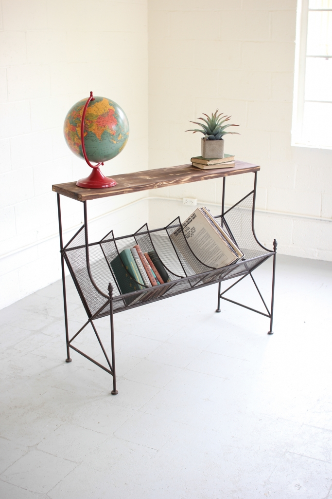 Wood Wire Book Console Table