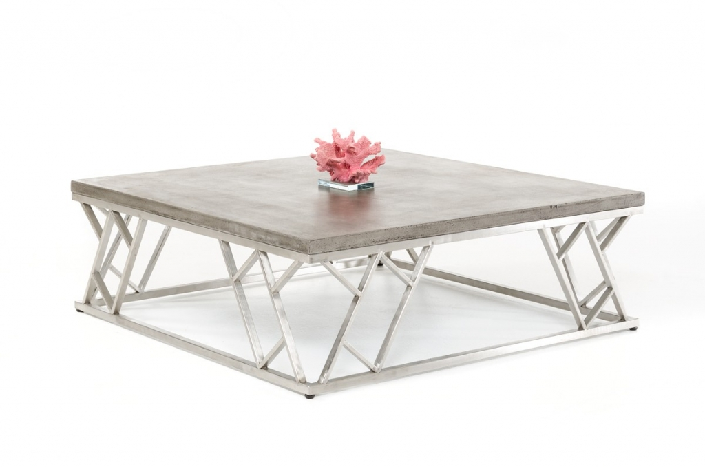 Concrete Chrome Coffee Table Modern Furniture Brickell Collection - Concrete and chrome coffee table