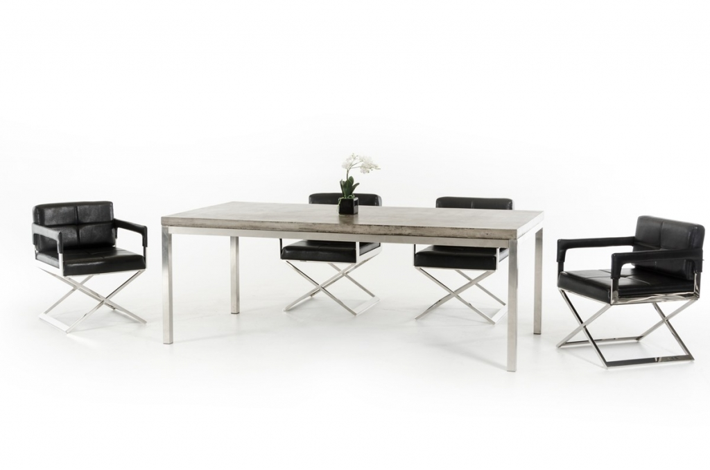 Concrete Chrome Large Dining Table