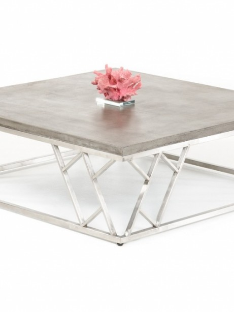 Concrete Chrome Square Coffee Table 461x614