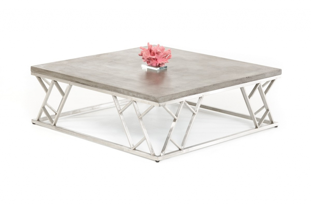 Concrete Chrome Square Coffee Table