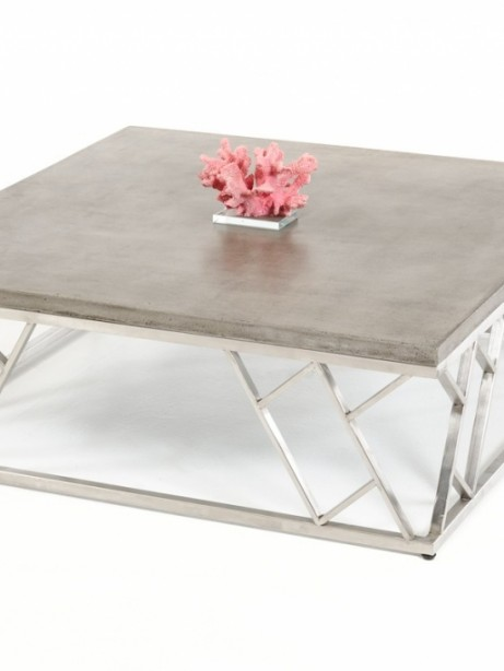 Concrete Chrome Square Modern Coffee Table 461x614
