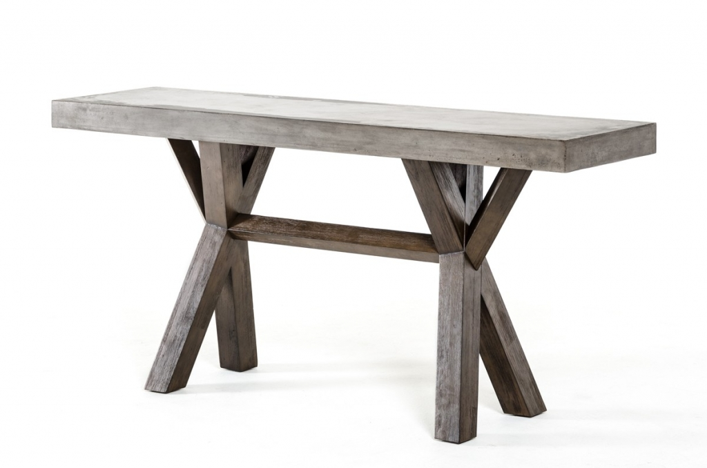 Concrete Wood Console Table