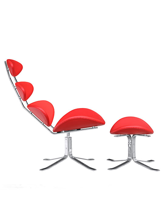 Futuristic Lounge Chair Red 3