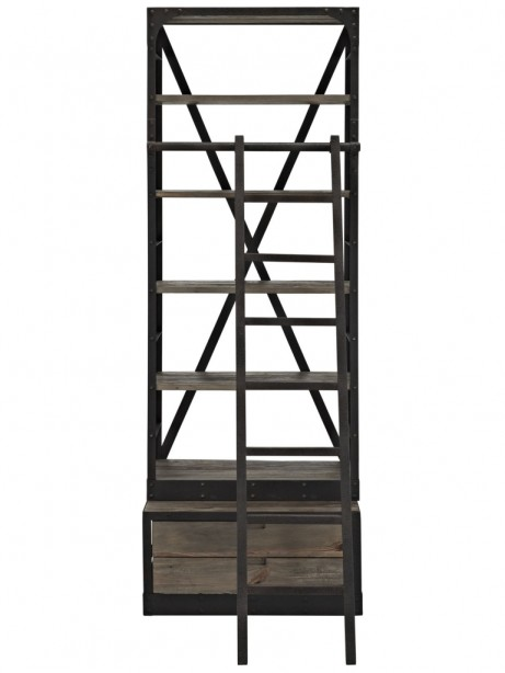 Reclaimed Wood Shelving Unit with Ladder 461x614