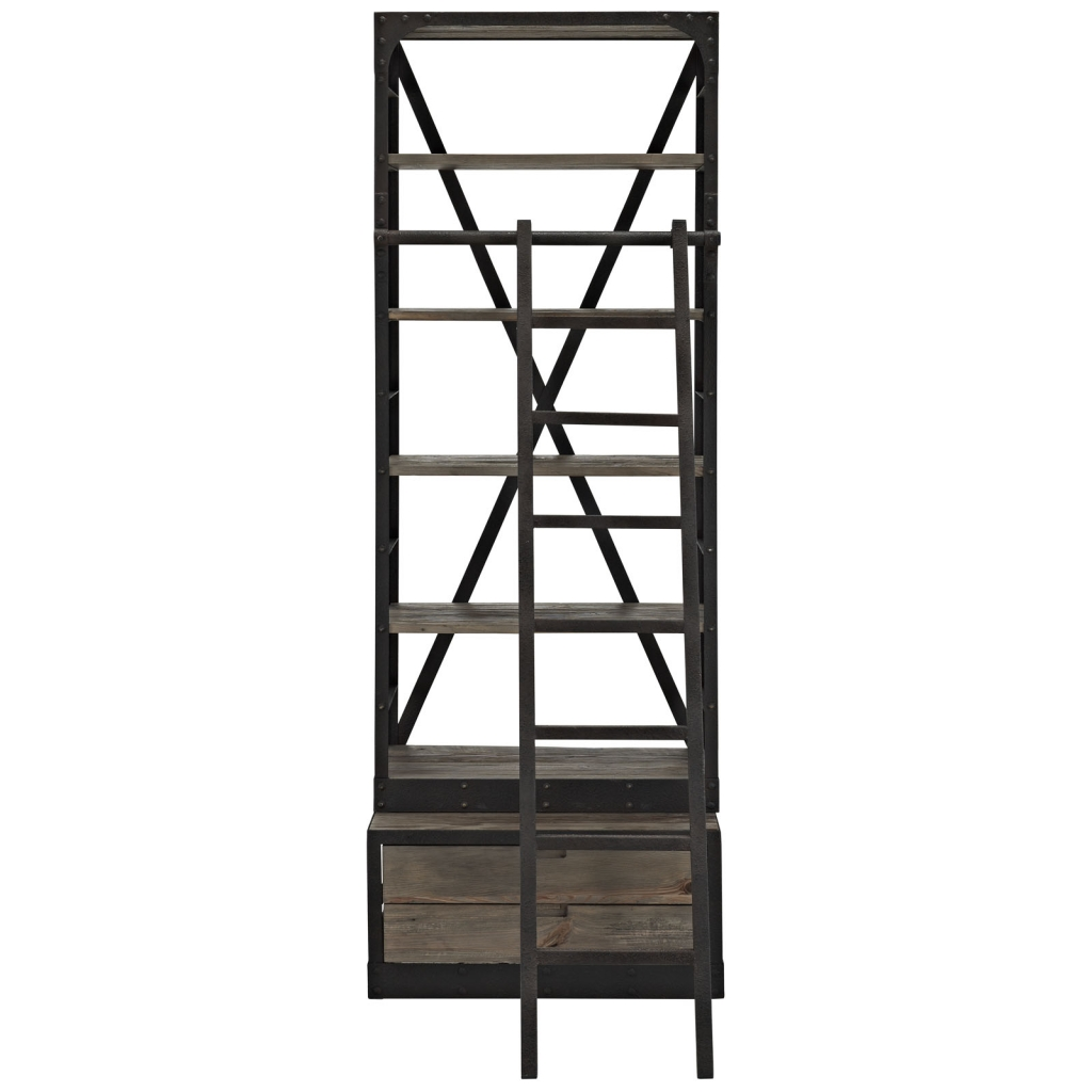 Reclaimed Wood Shelving Unit with Ladder
