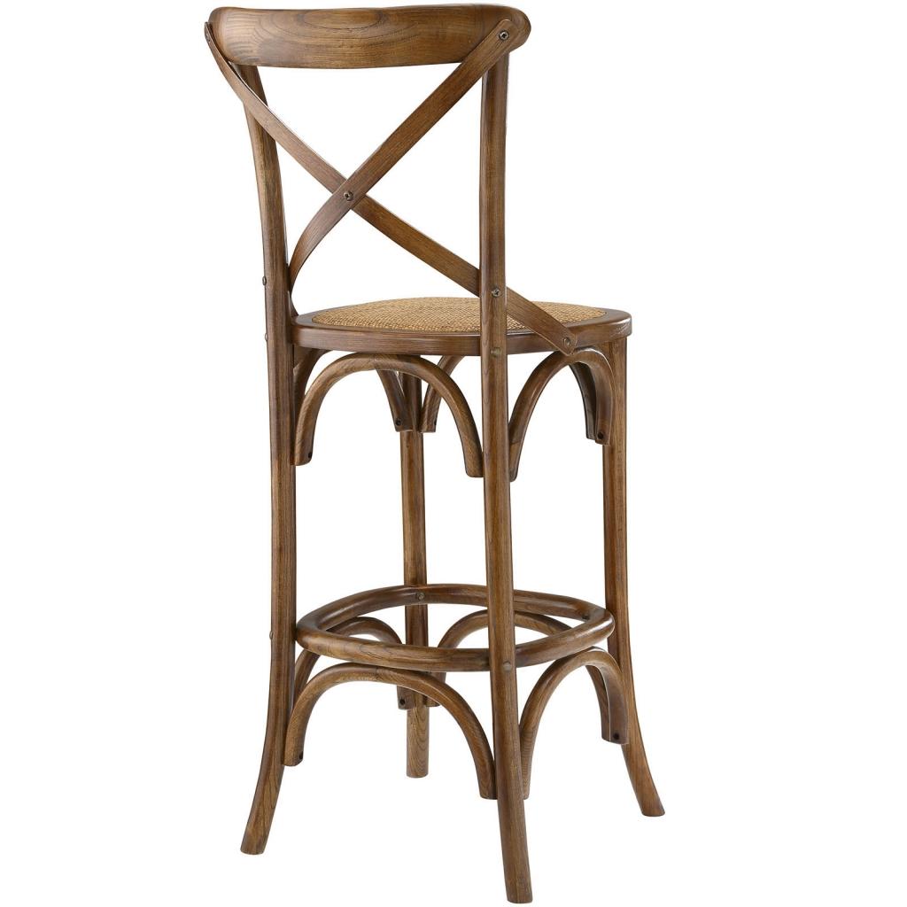 X Walnut Wood Barstool