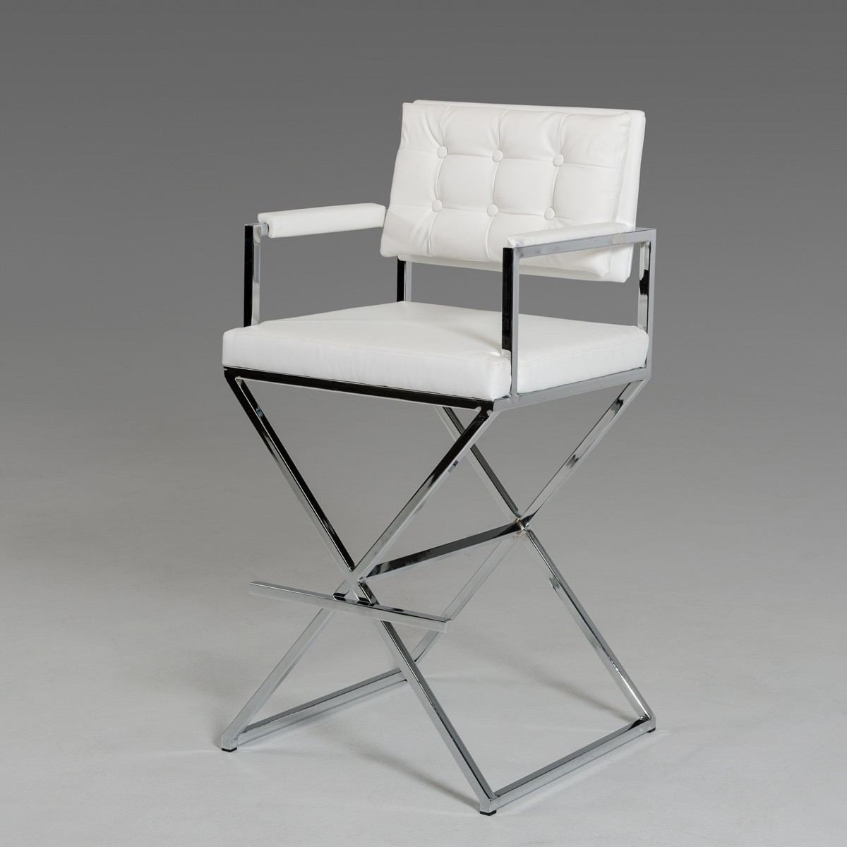 White Leather Directors Barstool