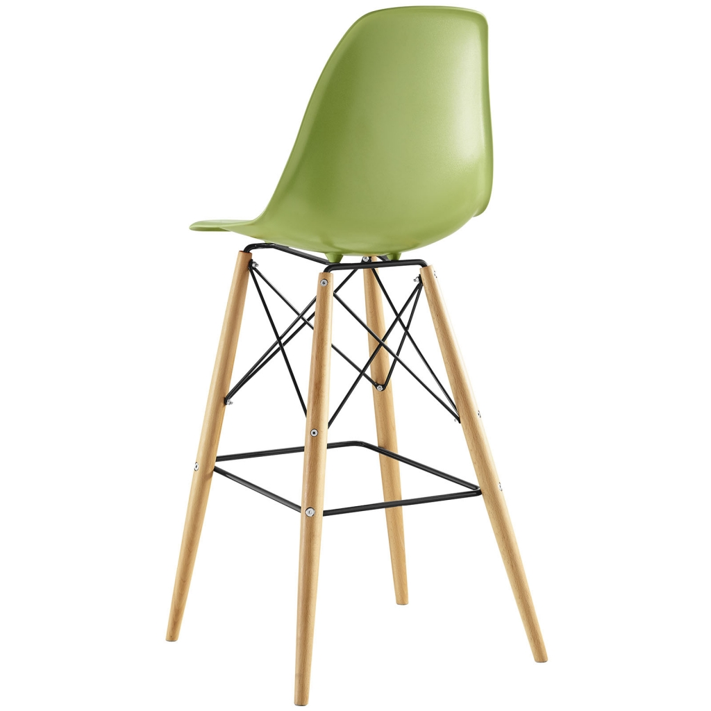 Green Molded Plastic Barstool Eames DSW Style Mid Century Modern Ceremony  Wood 3