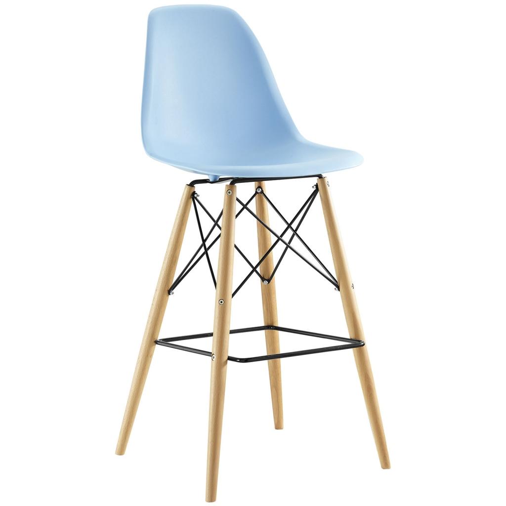 Light Blue Molded Plastic Barstool Eames DSW Style Mid Century Modern  Ceremony Wood 1