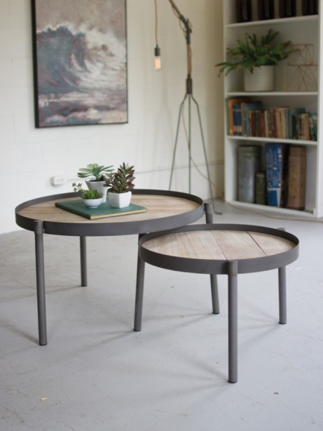 Metal and wood nesting table set 461x614
