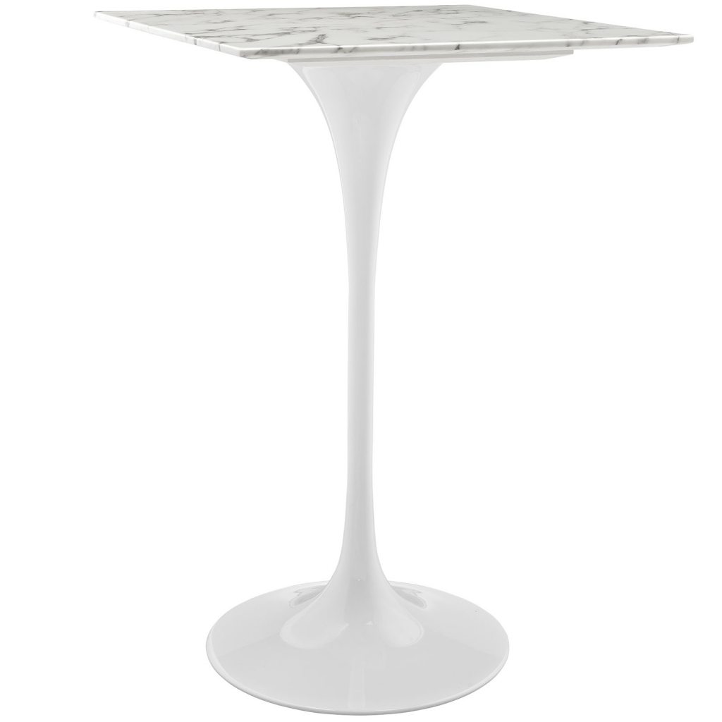 white marble bar table square