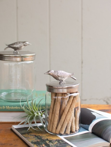 Glass Bird Canister Set of 2 461x614