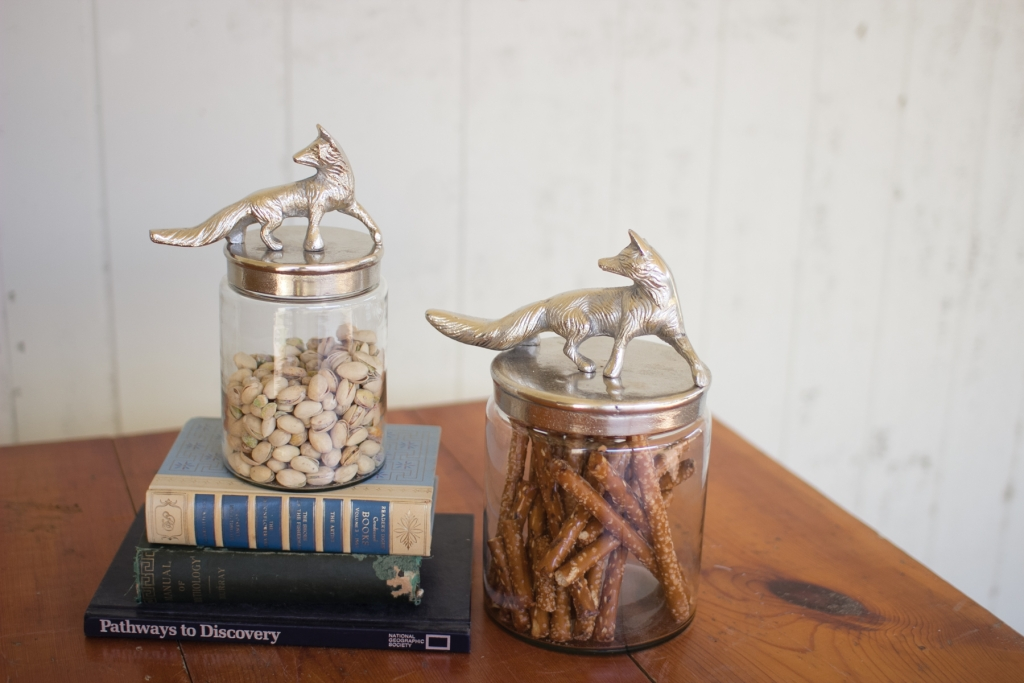 Glass Silver Fox Canister Set